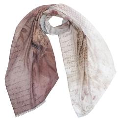 Изысканный женский шарф кофейного цвета с нежным принтом, из 100% вискозы  от Fabretti, арт. CX1819-06-2