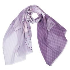 Женский шарф фиолетового цвета с почтовым принтом, из 100% вискозы от Fabretti, арт. CX1819-07-1