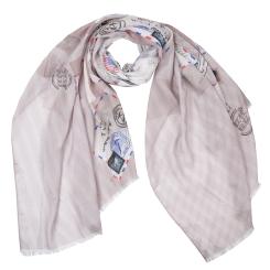 Бежевый женский шарф с красивым принтом, выполнен из вискозы от Fabretti, арт. CX1819-07-2