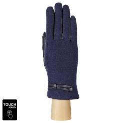 Сенсорные женские перчатки из натуральной кожи и шерсти синего цвета от Fabretti, арт. FS2-12 blue