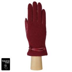 Красивые женские сенсорные перчатки из натуральной кожи и шерсти бордового цвета от Fabretti, арт. FS2-8 bordo