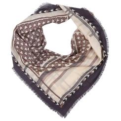Стильный женский шарф коричневого цвета с красивым принтом, из 100% шерсти от Fabretti, арт. G80014-1