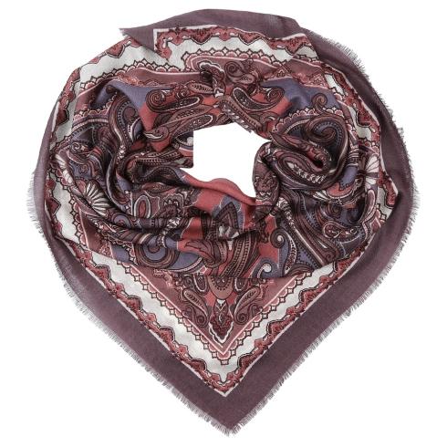 Женский платок с принтом, из мерсеризованной шерсти от Fabretti, арт. G80015-4