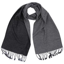Строгий мужской шарф черно-серого цвета из вискозы и шелка от Fabretti, арт. S1366-1
