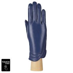 Женские сенсорные перчатки синего цвета из натуральной кожи ягненка от Fabretti, арт. S1.39-12s blue