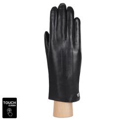 Модные сенсорные перчатки из натуральной кожи ягненка черного цвета от Fabretti, арт. S1.41-1s black