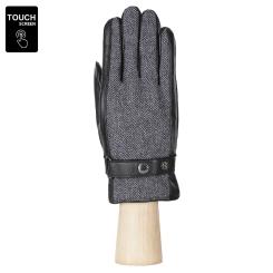 Сенсорные мужские перчатки, из натуральной кожи и шерсти черного цвета от Fabretti, арт. S1.43-1 black