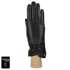 Стильные сенсорные перчатки черного цвета из натуральной кожи ягненка от Fabretti, арт. S1.7-1s black