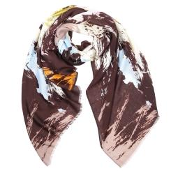 Коричневый женский шарф с яркой абстракцией, выполнен из 100% вискозы от Fabretti, арт. YS236-6