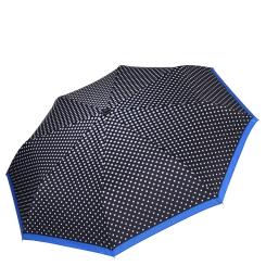 Женский зонт насыщенного черного цвета с принтом в горошек на куполе от Fabretti, арт. L-16108-4