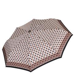 Красивый женский зонт из эпонжа коричневого и рыжего оттенка от Fabretti, арт. L-16109-6