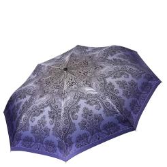 Изысканный женский зонт фиолетового оттенка с куполом из сатина от Fabretti, арт. S-16106-1
