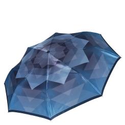 Женский зонт из сатина в бирюзовых тонах с геометрическим принтом от Fabretti, арт. S-16108-5