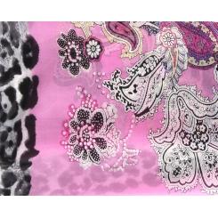 Яркий розовый шарф с цветочным рисунком из натурального шелка от Fabretti, арт. 14YL064-A
