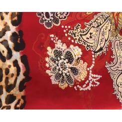 Роскошный женский шелковый шарф красного цвета с красивым рисунком от Fabretti, арт. 14YL064-B