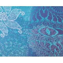 Шелковый женский шарф в синих тонах с цветочным рисунком от Fabretti, арт. CLSCF-06-1
