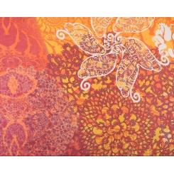 Яркий женский шарф из натурального шелка с нежным цветочным рисунком от Fabretti, арт. CLSCF-06-2