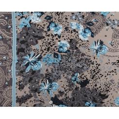 Женский шарф в коричневых тонах с голубым цветочным принтом, из 100% шелка  от Fabretti, арт. CX1627-2