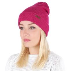 Женская шапка из натуральной шерсти сочного и яркого цвета фуксии от Fabretti, арт. F2016-24-50