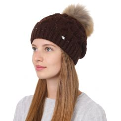 Женская шапка с помпоном из натуральной шерсти коричневого цвета от Fabretti, арт. F2017-37-85