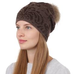 Коричневая женская шапка с помпоном из натуральной шерсти с узором от Fabretti, арт. F2017-38-54