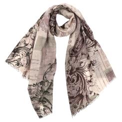 Элегантный женский шарф в бежевых и розовых тонах с красивым принтом из 100% шерсти от Fabretti, арт. GL1720-4