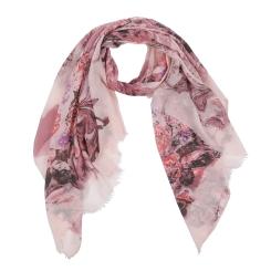 Модный женский палантин в нежных розовых оттенках с цветочным рисунком из 100% вискозы от Fabretti, арт. Leo342-A