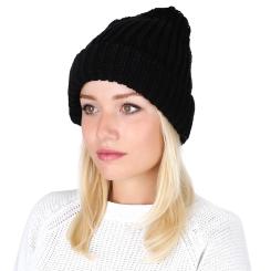 Вязаная женская шапка из натуральной шерсти черного цвета от Fabretti, арт. S2016-8-black