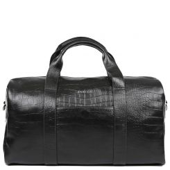 Дорожная мужская кожаная сумка черного цвета, с тиснением под крокодила от Fabretti, арт. 15243-018 black