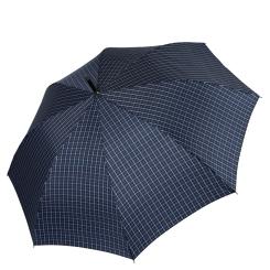 Мужской зонт трость с куполом темно-синего цвета в дизайнерскую клетку из мягкого тефлона от Fabretti, арт. 1732