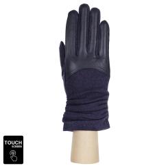 Комбинированные женские сенсорные перчатки из натуральной кожи и шерсти от Fabretti, арт. 3.9-12 navy