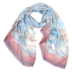 Стильный женский шарф в голубую полоску с морским принтом, из модала от Fabretti, арт. CX1718-82-1