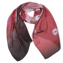 Стильный женский шарф красного цвета в белый горох, из полиэстера от Fabretti, арт. CXK83-2