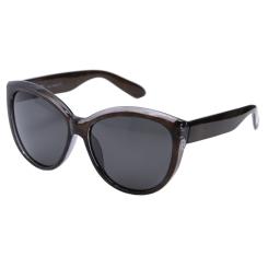 Солнцезащитные очки с линзами графитового оттенка в роскошной оправе овальной формы черного цвета от Fabretti, арт. EG3801706-2P