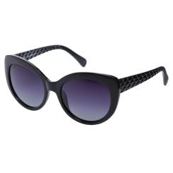 Солнцезащитные очки в стильной широкой оправе овальной формы черного цвета от Fabretti, арт. EG3861050-1GP