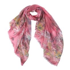 Женский шарф в розовых тонах с цветочным рисунком, из модала от Fabretti, арт. F1533-6