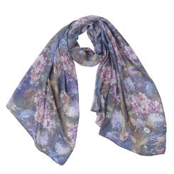 Легкий женский шарф в фиолетовых тонах с цветочным рисунком, из модала от Fabretti, арт. F1545-4