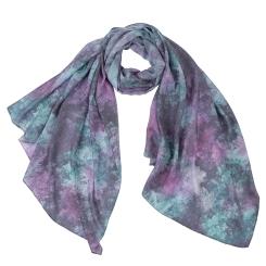 Роскошный женский шарф в фиолетовых оттенках с красивым цветочным принтом, из модала от Fabretti, арт. F1547-6