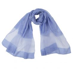 Изысканный женский шарф голубого цвета из вискозы и шелка от Fabretti, арт. F1704-2