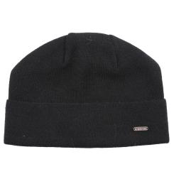 Облегающая шапка для мужчин, выполнена из натуральной шерсти черного цвета от Fabretti, арт. F2017-50-18