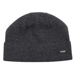 Облегающая мужская шапка из натуральной шерсти темно серого цвета от Fabretti, арт. F2017-50-44