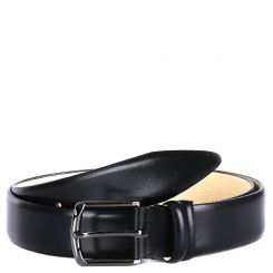 Брючный мужской ремень из гладкой черной натуральной кожи от Fabretti, арт. FR8235-130 black