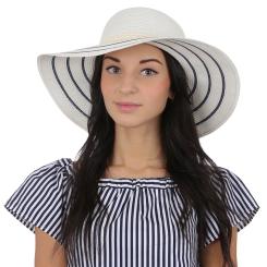 Женская летняя шляпа с широкими полями, модель белого цвета от Fabretti, арт. G28-3 BEIGE