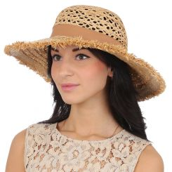 Летняя плетеная шляпа с широкими полями, модель бежевого цвета от Fabretti, арт. G42-1 beige