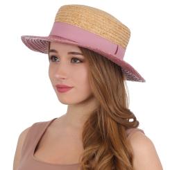 Двухцветная женская летняя шляпа с широкими полями от Fabretti, арт. G52-3/12 BEIGE/ROSE