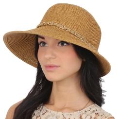 Женская плетеная летняя шляпа, модель бежевого цвета от Fabretti, арт. G54-1 beige