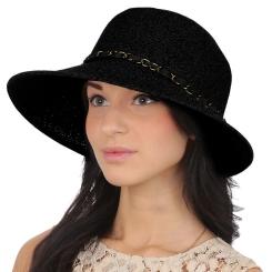Женская летняя шляпа с широкими полями, модель черного цвета от Fabretti, арт. G54-2 black