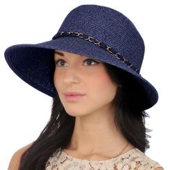 Женская летняя шляпа с широкими полями, модель синего цвета от Fabretti, арт. G54-5 blue