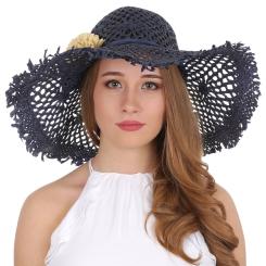 Женская летняя шляпа с сетчатыми широкими полями от Fabretti, арт. GL56-5 blue