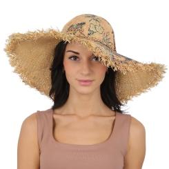 Женская летняя шляпа с широкими полями, модель ресничками на полях от Fabretti, арт. GL57-1 beige